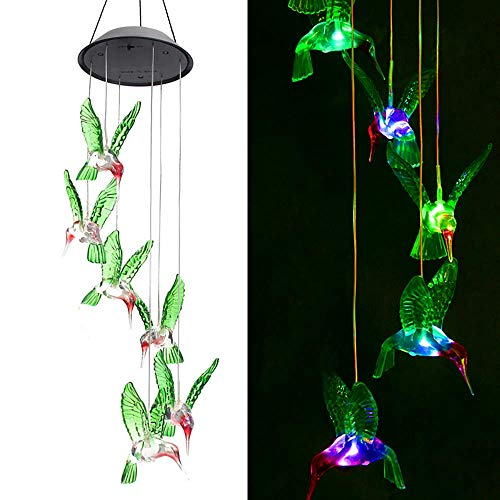 Zoutog Solar String Lights Color Changing Led Mobile Hummingbird Wind Chimes Waterproof Outdoor Solar Lights For Home Yard Patio Garden