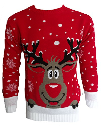 Reindeer Rudolph 3d Top Red Fantaisie Smiling Renne Femmes Pull Hommes Noël Elfe Tricoté Pour ROqtO
