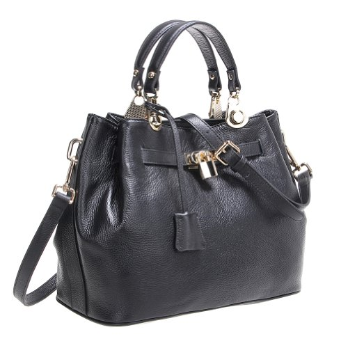 Fineplus Women's Fashion Genuine Leather Tote Bags Purses Wholesale Handbags Black On Clearance Sale