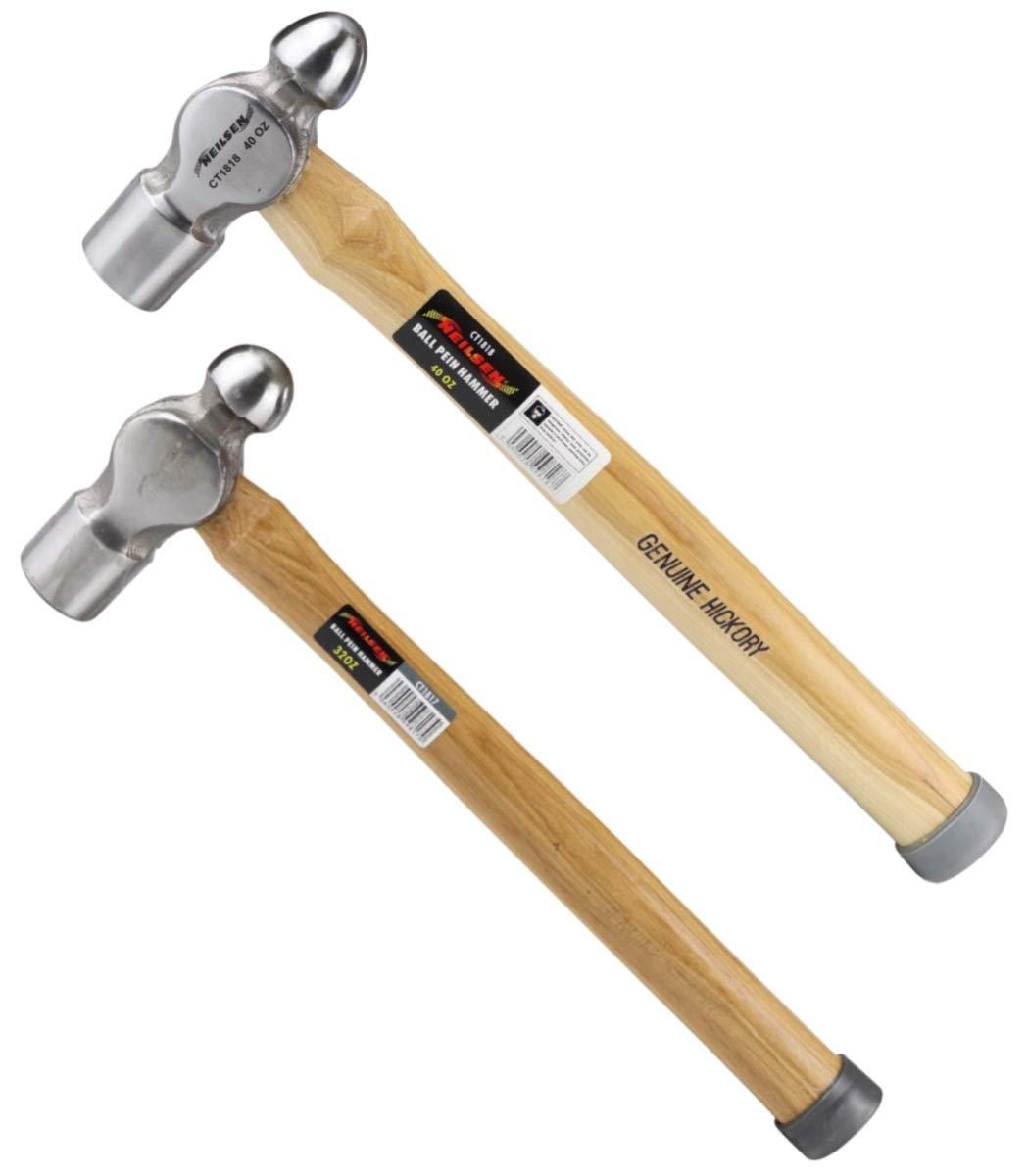 Buy 2 Ball Pein Hammers 32oz & 40oz Neilsen Wooden Genuine Hickory Handle CTPK2 MandyTools