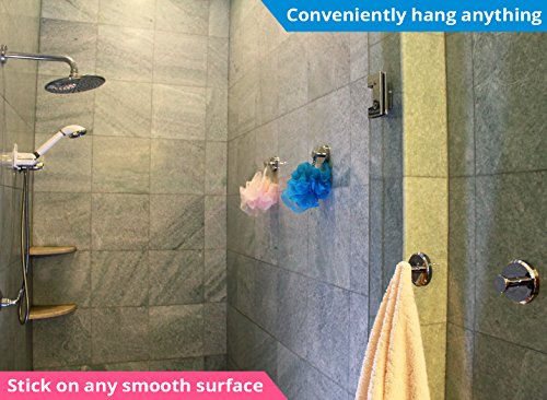 HOME SO Bathroom Hook with Suction Cup Holder - Removable Shower & Kitchen Hooks Hanger for Towel, Bath Robe, Coat, Loofah (2-Pack) by HOME SO (Image #1)