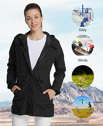 Negro Abrigo 4how Mujer Impermeable Para OUqSqxfw