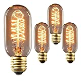 Vintage Edison Bulb 40W 110V E27 Base T45 Squirrel Cage Tubular Tungsten Filament Incandescent Light Bulb, Warm Light Dimmable Filament Bulb for Home Light Fixtures Decorative, Pack of 3