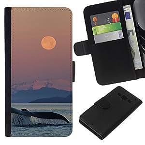 KLONGSHOP // Tirón de la caja Cartera de cuero con ranuras para tarjetas - atardecer naturaleza ballena mar Océano naturaleza - Samsung Galaxy A3 //