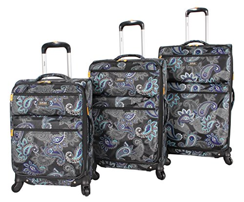 Lucas Printed Softside 3 Piece Lightweight Expandable Luggage Set with Spinner Wheels (One Size, Diva)