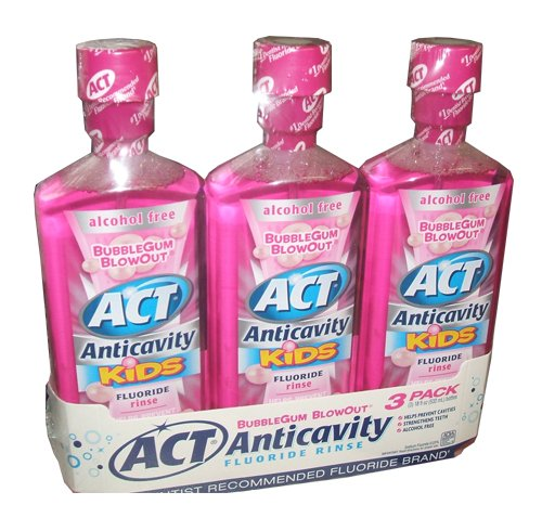 ACT Anticavity Kids Flouride Rinse Bubble Gum Blowout Flavor 18 Ounce Bottles (Pack of 3)
