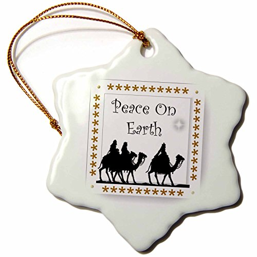 3dRose SmudgeArt All Things Christmas - Three Wiseman Peace On Earth - 3 inch Snowflake Porcelain Ornament ()