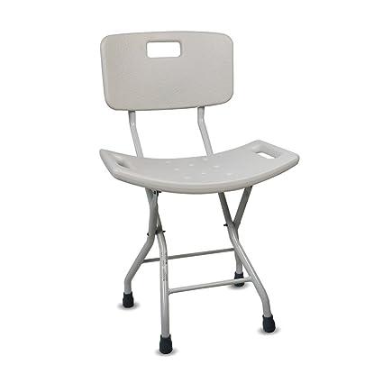 Silla de baño | Plegable, con asiento y respaldo ergonómico ...