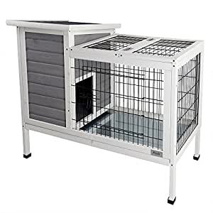 "Petsfit 36""Lx20""Wx30""H Rabbit Hutch Grey,Guinea Pigs Cage,Bunny Hutch Wood for Indoor Use"