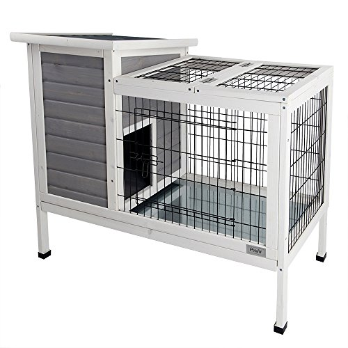 Petsfit Rabbit Hutch Grey, Guinea Pigs Cage, Bunny Hutch Wood for Indoor Use (Rabbit Cages)