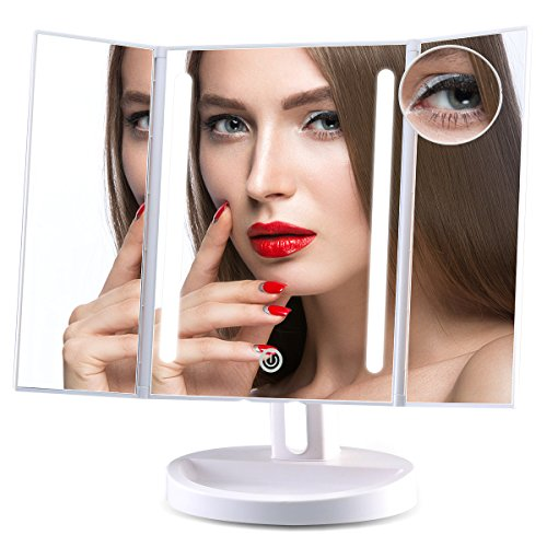 Leju Lighted Makeup Mirror  Natural Led Light With 10X Magnifying Spot Mirror Countertop Cosmetic Makeup Mirror