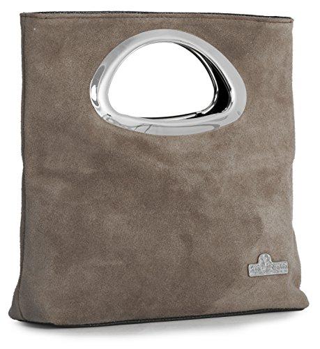 (LiaTalia Plain Italian Suede Leather Top Handle Small Foldable Evening Purse Clutch Bag - Rhea [Taupe])
