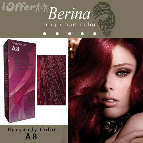 Pack of 1 KIT Berina A8 Burgundy Hair Dye Color Cream Dye 60 G. Super Permanent Fashion Unisex