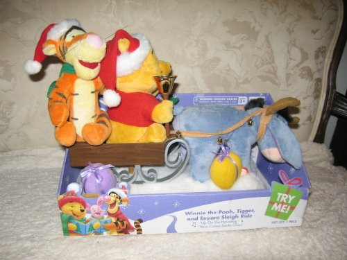 (Disney 2007 Winnie the Pooh Tigger and Eeyore Sleigh Model# 10043 Ride Plays up on the Housetop & Here Comes Santa)