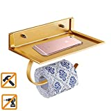 EGOGOO Adhesive No Drills Toilet Paper Roll Holder for Bathroom Kitchen Tissue Towel with Storage Shelf - Aluminum Wall Mount (Gold)