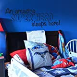 A Super Hero Sleeps Here Vinyl Wall Decal for Batman, Spiderman, Superman, Room