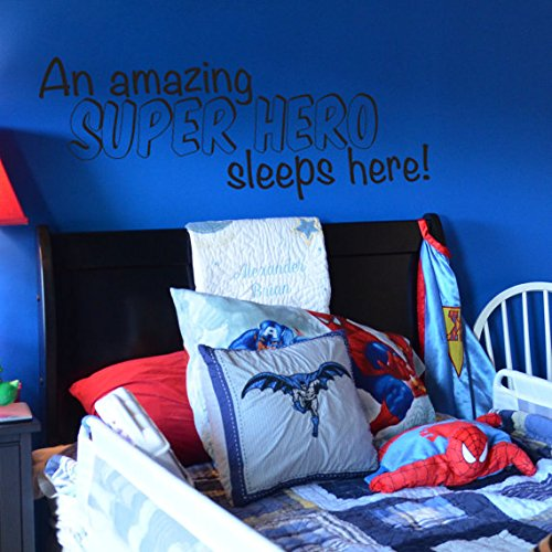 A Super Hero Sleeps Here Vinyl Wall Decal for Batman, Spi...
