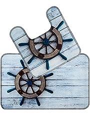 طقم حمام ماك جافا 2 قطعة مقاسات 45x50 + 50x80 سم - دفة السفينة