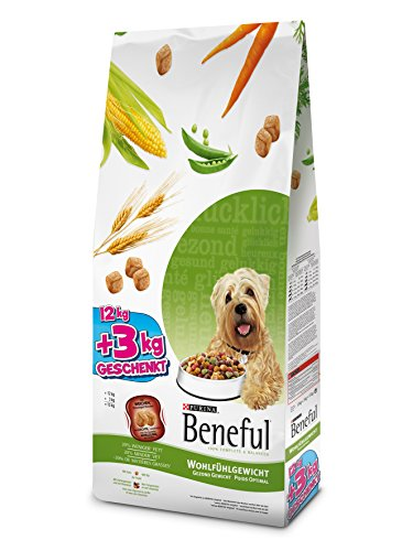 Beneful Purina Hundetrockenfutter Wohlfühlgewicht mit Huhn, Gartengemüse & Vitaminen 12 + 3 kg Overfill Sack, 1er Pack (1 x 15 kg)