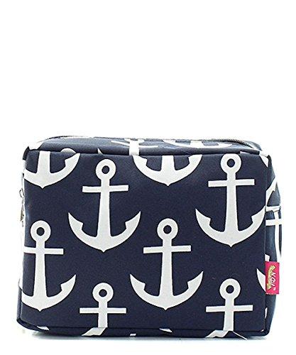N.Gil Nautical Anchor Print Small Canvas Cosmetic Travel Bag