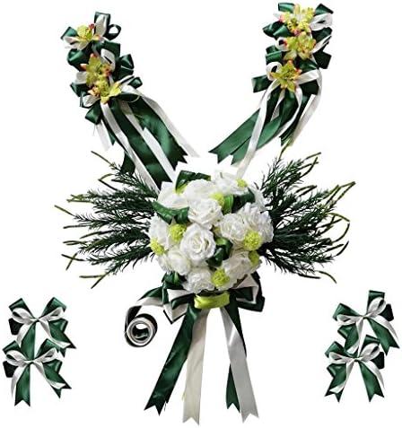 豪華な結婚式の車の装飾キットDIY人工シルクフラワーリボン弓セット - 緑