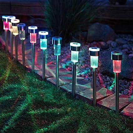 12 x Diamond Colour Changing Solar Powered Garden Lights Ourdoor Lanterns Lamp