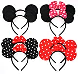 ZICOME Pack of 8 with 4 kinds - Mouse Adorable Ear Dots Solid Various Style Black and Bow Headband for Boys and Girls Birthday Party or Celebrations (Pack of 8)