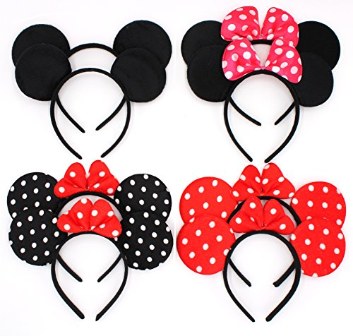 ZICOME Pack of 8 with 4 kinds - Mouse Adorable Ear Dots Solid Various Style Black and Bow Headband for Boys and Girls Birthday Party or Celebrations (Pack of 8) (Adorable Mouse)