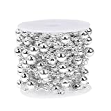 Whitelotous 10m/roll Round Pearl Beads Chain Christmas Tree Garland Wedding Party Supplies Decoration Bride Bouquet accessories (Silver)