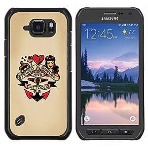 YiPhone /// Prima de resorte delgada de la cubierta del caso de Shell Armor - Contacto encima de la muñeca del corazón mujer ancla tatuaje - Samsung Galaxy S6Active Active G890A