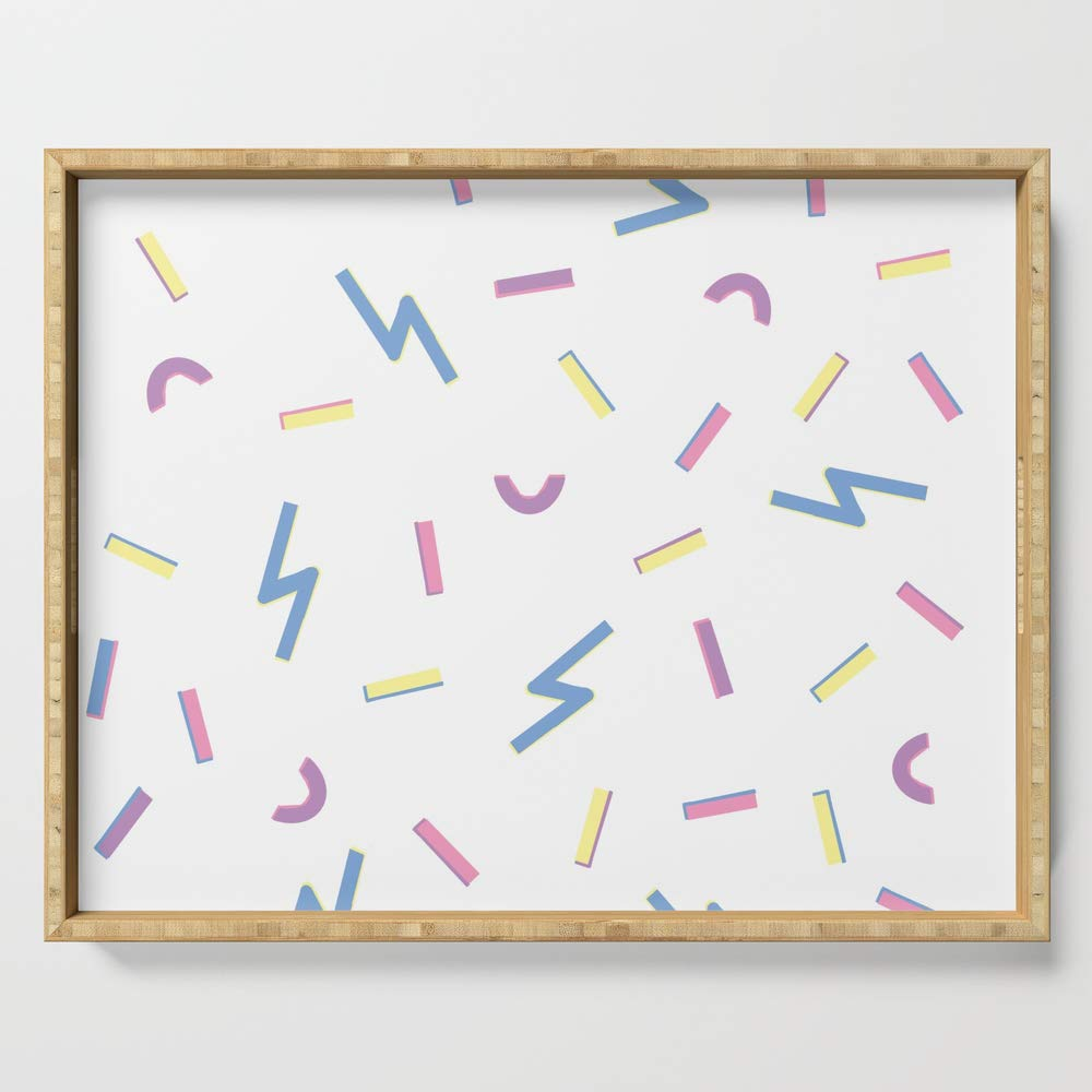 Society6 Serving Tray with handles, 18'' x 14'' x 1 3/4'', Jazzy Confetti Dance Party by alishas