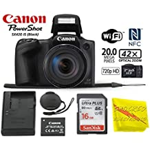 [Patrocinado] Canon PowerShot SX420 Cámara digital con zoom óptico de 42x – Wi-Fi y NFC habilitado (negro) – Shocked Essential Value Bundle