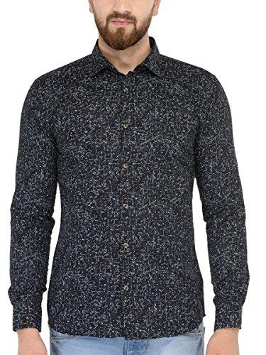 BEING FAB Men #39;s Geometric Print Casual Black Shirt