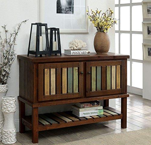 Furniture of America Beverly Brown Cherry Hallway Cabinet Storage and Organization