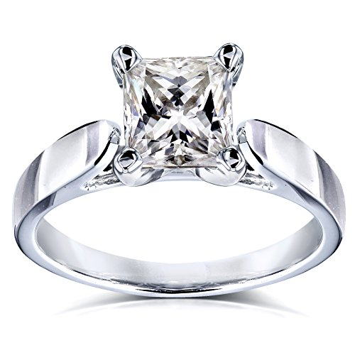 Princess Moissanite Solitaire Peg Head Cathedral Engagement Ring 7/8 Carat 14k White Gold, 4 Cathedral Four Prong