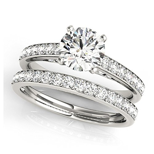 14K White Gold Unique Wedding Diamond Bridal Set Style MT50943