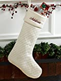 Ivory Soft Quilted Cotton Christmas Stocking