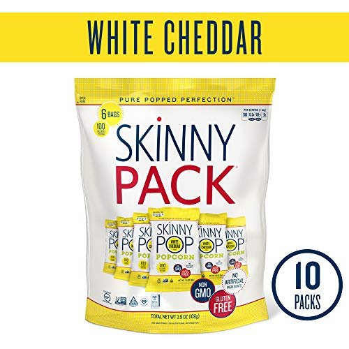 SKINNYPOP White Cheddar Popped Popcorn, Individual Bags, Gluten Free Popcorn, Non-GMO, No Artificial Ingredients, A Delicious Source of Fiber, 3.9 Ounce (Pack of 10)