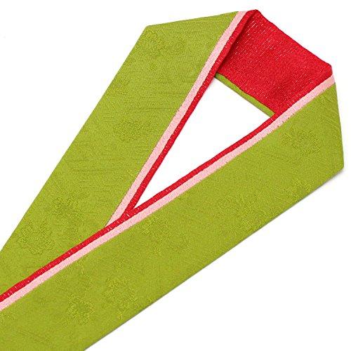 きもの京香 重ね襟 振袖用 リバーシブル 重ね衿 正絹 三色 三重 伊達襟 黄緑/ピンク/赤 No.7