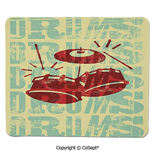 Non-Slip Rubber Base Mousepad,Groovy Drumming Poster Design Percussion Rock Music Instrument Play Vibe Hit,Non-Slip Water-Resistant Rubber Base Cloth Computer Mouse Mat (15.74