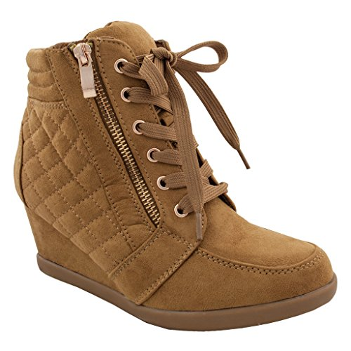 Women High Top Wedge Heel Sneakers Platform Lace Up Tennis Shoes Ankle Bootie 10 US