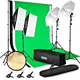 ESDDI Photography Lighting Kit Adjustable Max Size 2.6Mx3M Background Support System 3 Color Backdrop Photo Studio Softbox Sets Continuous Umbrella Light Stand with Portable Carry Bag