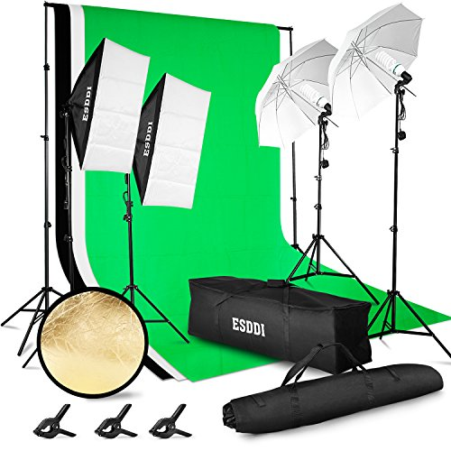 ESDDI Lighting Kit Adjustable Max Size 26Mx3M Background Support System 3 Color Backdrop Fabric Photo Studio Softbox Sets Continuous Umbrella Light Stand with Portable Bag