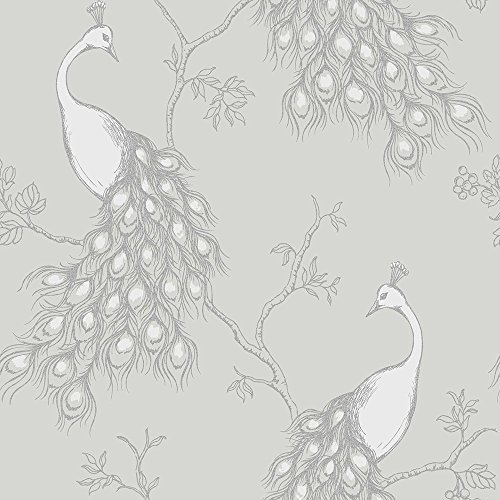 Empress Peacock Wallpaper - Stone and White - FD40712 by Fine Decor