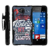 MINITURTLE Case Compatible w/ Case for Lumia 650 |[Armor Reloaded] Rugged Impact Hard Rubber Durable Unique Creative Cover + Belt Clip, Blue College Sports