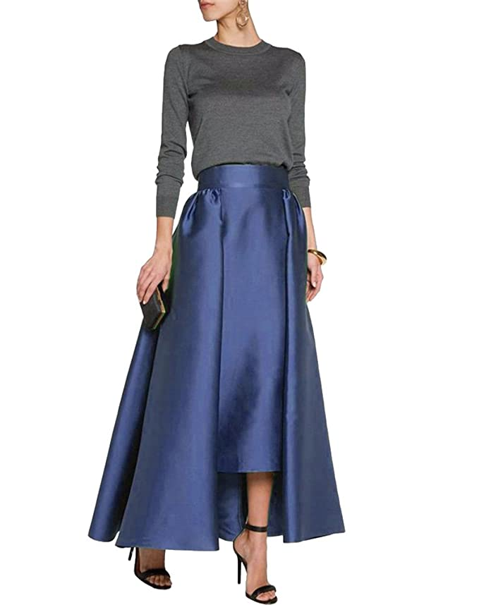 b4633280bd CoutureBridal Women's Pleated Maxi Skirt Formal A-Line High Low Satin Ankle Length  Skirts at Amazon Women's Clothing store: