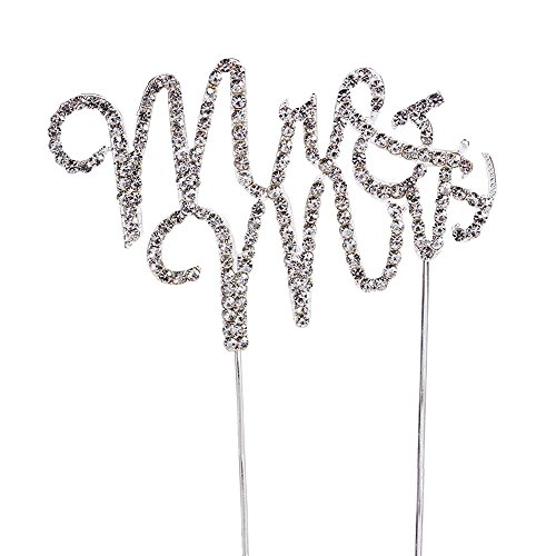 Rhinestone Mr & Mrs Cake Topper, Monogram Wedding Bridal Shower Anniversary Party Table Decoration Gift Favors, Bling Metal, Silver 2 (Mr & Mrs 1) ()