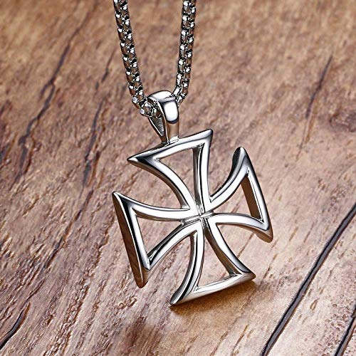 HNJingMen Hollow Cross Pendant Necklace Stainless Steel Vintage Hollow Male Necklace Accessories, - Austrian Engravable Crystal