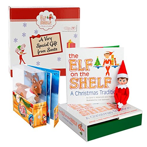 Elf on the Shelf Blue Eyed Girl with Pet Reindeer in Gift Box
