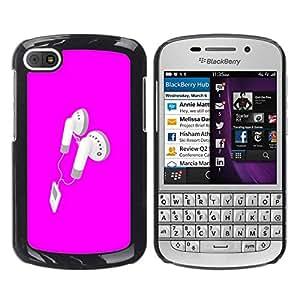 All Phone Most Case / Oferta Especial Duro Teléfono Inteligente PC Cáscara Funda Cubierta de proteccion Caso / Hard Case BlackBerry Q10 // Pink Earphones